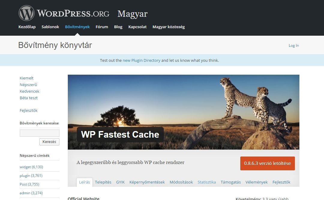 WordPress honlap gyorsítótárazása egyszerűen