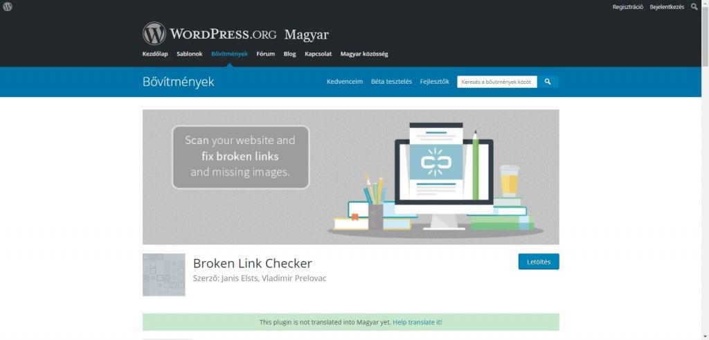 Hibás linkek keresése Broken Link Checker segítségével