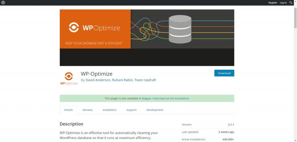 Adatbázis karbantartás és optimalizálás a WP-Optimize segítségével